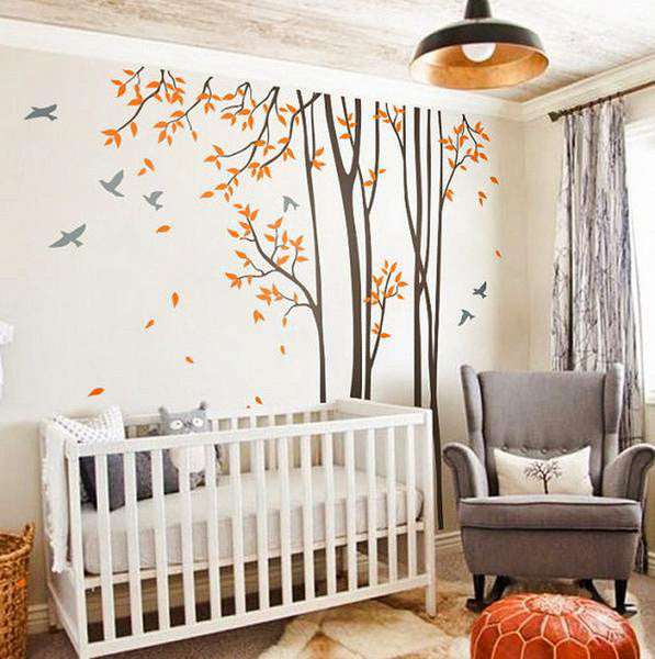 Huge Birds Trees Forest Wall Arts Nursery Kids Decals Baby