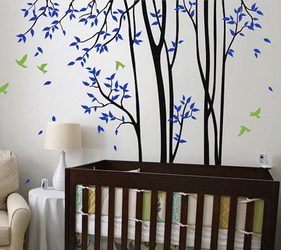 Huge birds trees forest wall arts nursery kids decals baby for Baby room tree mural