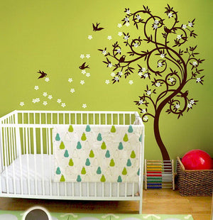 Swallow Birds Flower Swirl Tree Nursery Wall Sticker Kids Room Decals Home Decor