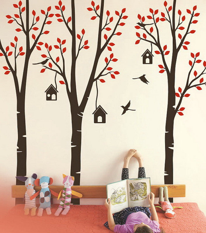 Gentil Poplar Trees Forest Birdhouse Boy Girls Wall Decals Nursery Kids Baby Decor  Wall Arts Mural Gifts