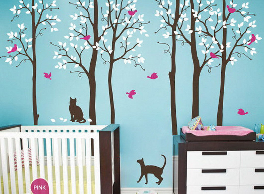 Cat birds tree wall decals nursery kids baby boys girls for Baby girl nursery mural