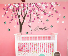 Plum Flower Blossom Tree Butterfly Personalized Custom Name Wall Decals Nursery Decor Baby Gift Mural