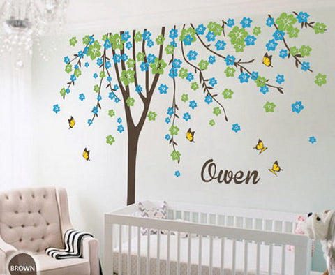 Image of Plum Flower Blossom Tree Butterfly Personalized Custom Name Wall Decals Nursery Decor Baby Gift Mural