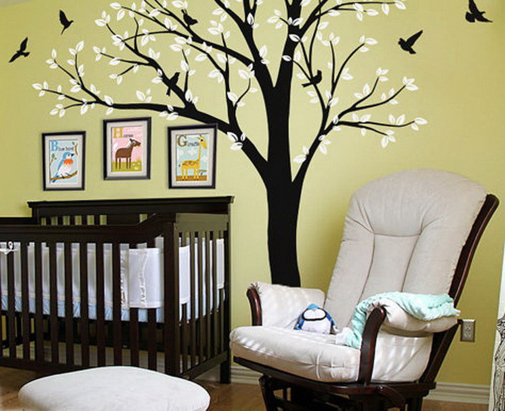Giant Birds Tree Wall Arts Nursery Kids Home Decor Baby Gifts Mural Wall Decals Wand Tatoo