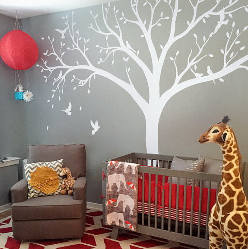 High 2.4m Giant Bird Baby Cot Side Tree Nursery Wall Decals Stickers Art  Wall Mural Part 62