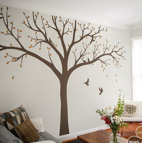 Image of High 2.4m Giant Bird Baby Cot Side Tree Nursery Wall Decals Stickers Art Wall Mural Home Decor Living Room Bedroom