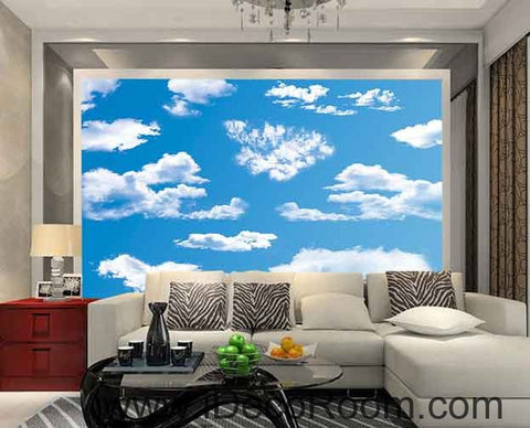 Image of Sunny Day Blue Sky White Clouds Wallpaper Wall Decals Wall Art Print Business Kids Wall Paper Nursery Mural Home Decor Removable Wall Stickers Ceiling Decal