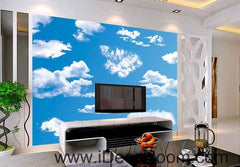 Sunny Day Blue Sky White Clouds Wallpaper Wall Decals Wall Art Print Business Kids Wall Paper Nursery Mural Home Decor Removable Wall Stickers Ceiling Decal