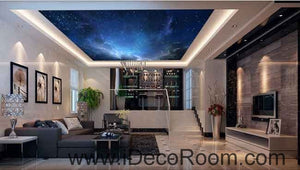 Galaxy Night Sky Twikle Star  Wallpaper Wall Decals Wall Art Print Business Kids Wall Paper Nursery Mural Home Decor Removable Wall Stickers Ceiling Decal