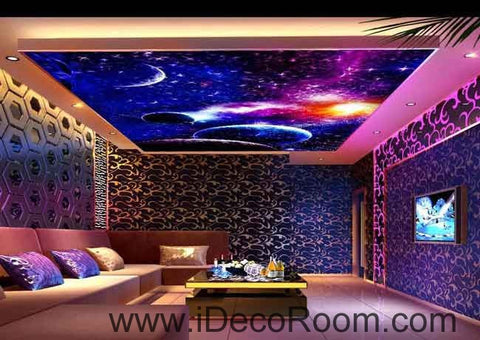 Image of Purple Blue Universe Planet Wallpaper Wall Decals Wall Art Print Business Kids Wall Paper Nursery Mural Home Decor Removable Wall Stickers Ceiling Decal