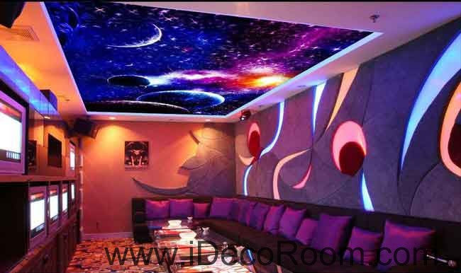 Purple Blue Universe Planet Wallpaper Wall Decals Wall Art Print Business Kids Wall Paper Nursery Mural Home Decor Removable Wall Stickers Ceiling Decal