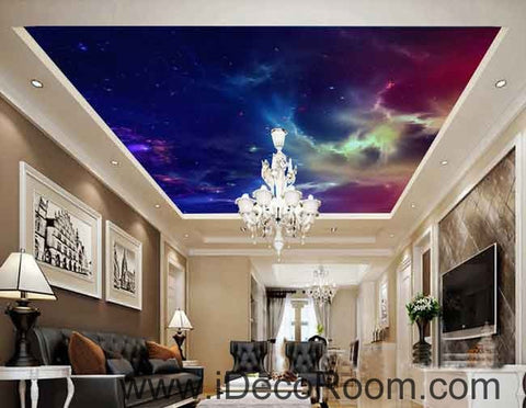 Galaxy Night Sky Star Light Wallpaper Wall Decals Wall Art Print Business Kids Wall Paper Nursery Mural Home Decor Removable Wall Stickers Ceiling Decal
