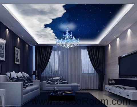 White Clouds Night Sky Wallpaper Wall Decals Wall Art Print Business Kids Wall Paper Nursery Mural Home Decor Removable Wall Stickers Ceiling Decal