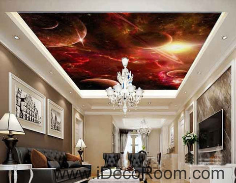 Image of Red Clouds Star Planet Wallpaper Wall Decals Wall Art Print Business Kids Wall Paper Nursery Mural Home Decor Removable Wall Stickers Ceiling Decal