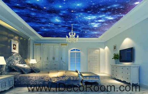 Image of Twinkle Stars Night Sky Wallpaper Wall Decals Wall Art Print Business Kids Wall Paper Nursery Mural Home Decor Removable Wall Stickers Ceiling Decal