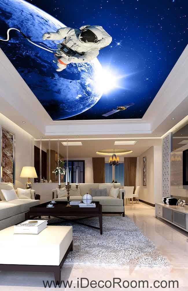 Astronauts Outerspace Walking Wallpaper Wall Decals Wall Art Print Business Kids Wall Paper Nursery Mural Home Decor Removable Wall Stickers Ceiling Decal