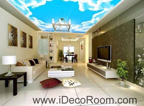 Image of Sunlight Heaven Stage Clouds Sky Wallpaper Wall Decals Wall Art Print Business Kids Wall Paper Nursery Mural Home Decor Removable Wall Stickers Ceiling Decal