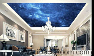 Dark Blue Night Sky Wallpaper Wall Decals Wall Art Print Business Kids Wall Paper Nursery Mural Home Decor Removable Wall Stickers Ceiling Decal