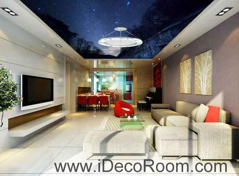 Forest Night Sky Starlight Wallpaper Wall Decals Wall Art Print Business Kids Wall Paper Nursery Mural Home Decor Removable Wall Stickers Ceiling Decal