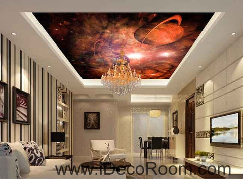 Image of Nebula Red Planet Wallpaper Wall Decals Wall Art Print Business Kids Wall Paper Nursery Mural Home Decor Removable Wall Stickers Ceiling Decal