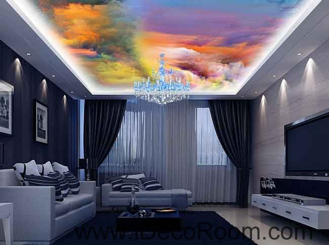 Colorful clouds moving wallpaper wall decals wall art print business kids wall paper nursery mural home