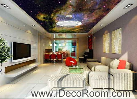 Image of Nebula Clouds Star Wallpaper Wall Decals Wall Art Print Business Kids Wall Paper Nursery Mural Home Decor Removable Wall Stickers Ceiling Decal
