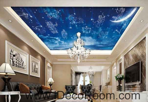 Image of Blue Sky Moon 12 Star Signs Wallpaper Wall Decals Wall Art Print Business Kids Wall Paper Nursery Mural Home Decor Removable Wall Stickers Ceiling Decal