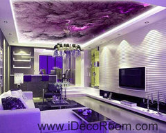 Purple Marble Cloud Pattern Wallpaper Wall Decals Wall Art Print Business Kids Wall Paper Nursery Mural Home Decor Removable Wall Stickers Ceiling Decal