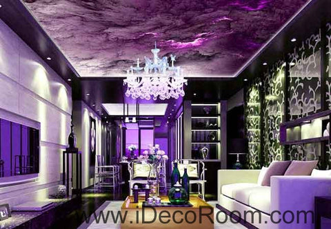 Image of Purple Marble Cloud Pattern Wallpaper Wall Decals Wall Art Print Business Kids Wall Paper Nursery Mural Home Decor Removable Wall Stickers Ceiling Decal