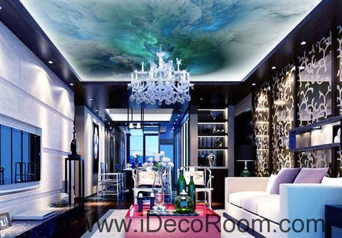 Image of Turqoise Marble Clouds Pattern Wallpaper Wall Decals Wall Art Print Business Kids Wall Paper Nursery Mural Home Decor Removable Wall Stickers Ceiling Decal