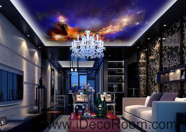 Fire Castle Star Sky Wallpaper Wall Decals Wall Art Print Business Kids Wall Paper Nursery Mural Home Decor Removable Wall Stickers Ceiling Decal