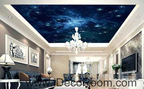 Image of Galaxy Star Sky Wallpaper Wall Decals Wall Art Print Business Kids Wall Paper Nursery Mural Home Decor Removable Wall Stickers Ceiling Decal