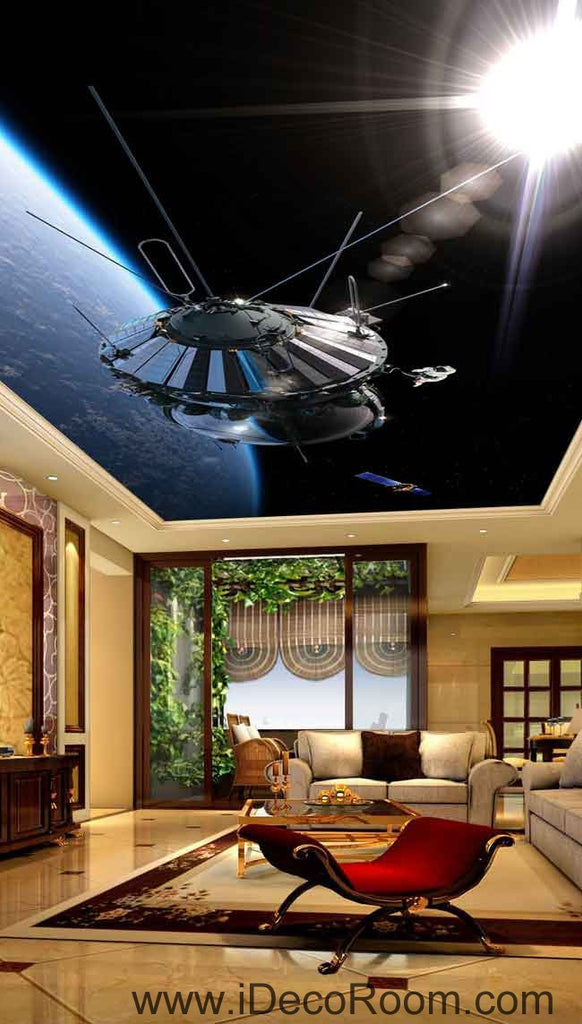 Space Craft Outerspace Wallpaper Wall Decals Wall Art Print Business Kids Wall Paper Nursery Mural Home Decor Removable Wall Stickers Ceiling Decal