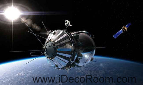 Image of Space Craft Outerspace Wallpaper Wall Decals Wall Art Print Business Kids Wall Paper Nursery Mural Home Decor Removable Wall Stickers Ceiling Decal