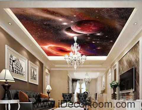 Image of Planets Outerspace Galaxy Wallpaper Wall Decals Wall Art Print Business Kids Wall Paper Nursery Mural Home Decor Removable Wall Stickers Ceiling Decal