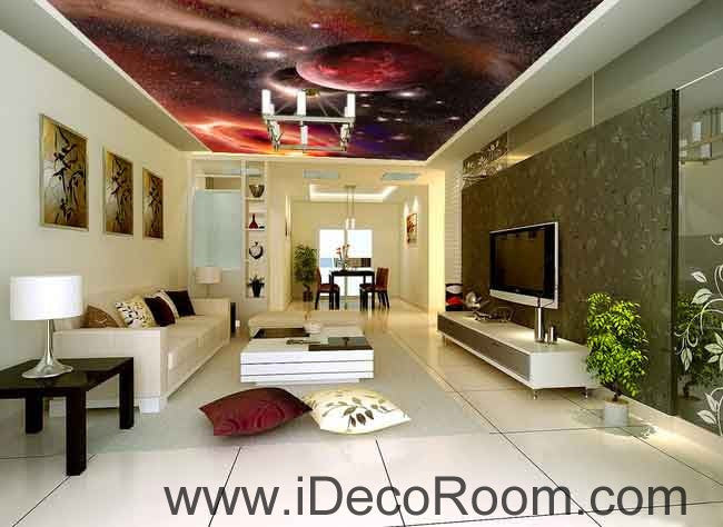 Planets Outerspace Galaxy Wallpaper Wall Decals Wall Art Print Business Kids Wall Paper Nursery Mural Home Decor Removable Wall Stickers Ceiling Decal