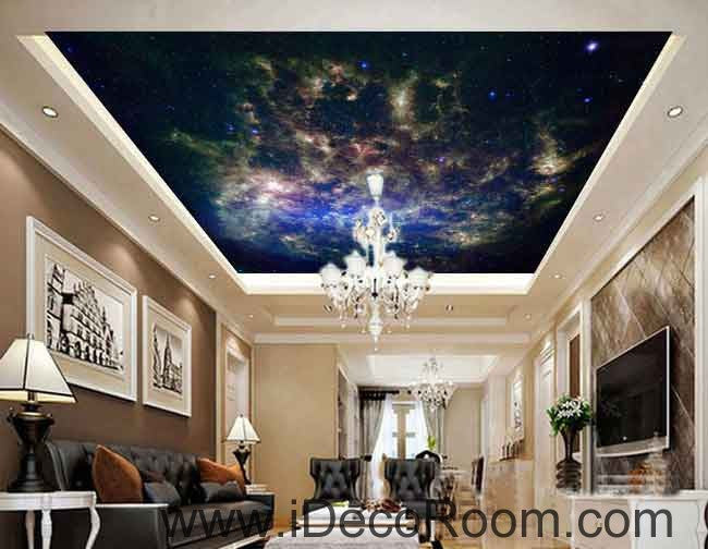 Star Nebula Wallpaper Wall Decals Wall Art Print Business Kids Wall Paper Nursery Mural Home Decor Removable Wall Stickers Ceiling Decal