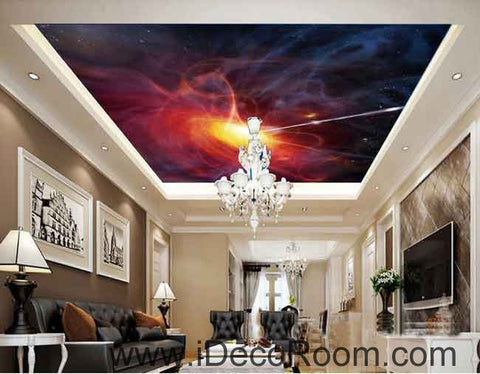 Image of Smoky Starlight Shooting Wallpaper Wall Decals Wall Art Print Business Kids Wall Paper Nursery Mural Home Decor Removable Wall Stickers Ceiling Decal
