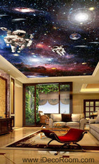 Astronauts Outerspace Walking Planet Solar Wallpaper Wall Decals Wall Art Print Business Kids Wall Paper Nursery Mural Home Decor Removable Wall Stickers Ceiling Decal