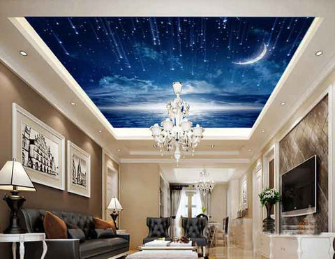 Image of Moonlit Twinkle Star Wallpaper Wall Decals Wall Art Print Business Kids Wall Paper Nursery Mural Home Decor Removable Wall Stickers Ceiling Decal