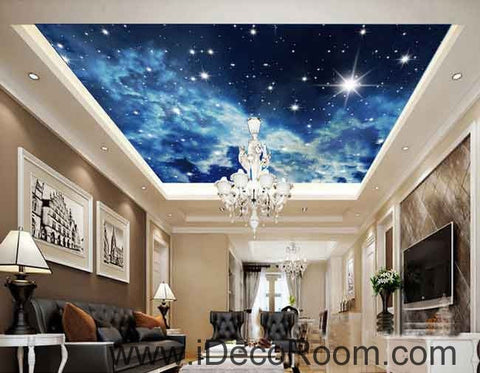 Image of Foggy Star Sky Starlight Wallpaper Wall Decals Wall Art Print Business Kids Wall Paper Nursery Mural Home Decor Removable Wall Stickers Ceiling Decal