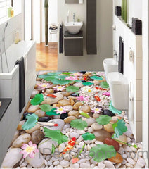 Lilypad Lotus Colorful Fish Cobble Stone Pond 00002 Floor Decals 3D Wallpaper Wall Mural Stickers Print Art Bathroom Decor Living Room Kitchen Waterproof Business Home Office Gift