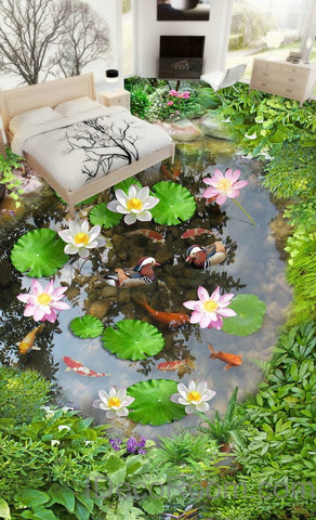 Image of Lilypad Lotus Fish Cobble Stone Duck Pond 00003 Floor Decals 3D Wallpaper Wall Mural Stickers Print Art Bathroom Decor Living Room Kitchen Waterproof Business Home Office Gift