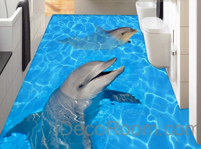 Dophin Twins Sea Ocean Water 00004 Floor Decals 3D Wallpaper Wall Mural Stickers Print Art Bathroom Decor Living Room Kitchen Waterproof Business Home Office Gift