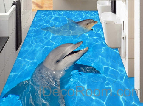 Image of Dophin Twins Sea Ocean Water 00004 Floor Decals 3D Wallpaper Wall Mural Stickers Print Art Bathroom Decor Living Room Kitchen Waterproof Business Home Office Gift