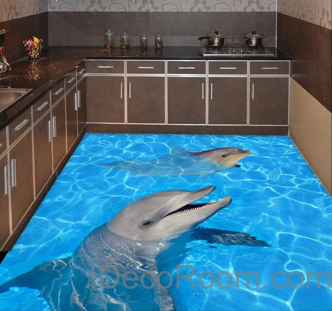 Dophin Twins Sea Ocean Water 00004 Floor Decals 3d