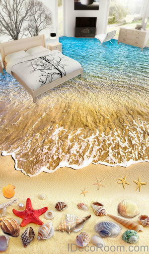 Beach Wave Red Starfish Colerful Shell 00006 Floor Decals 3D Wallpaper Wall Mural Stickers Print Art Bathroom Decor Living Room Kitchen Waterproof Business Home Office Gift