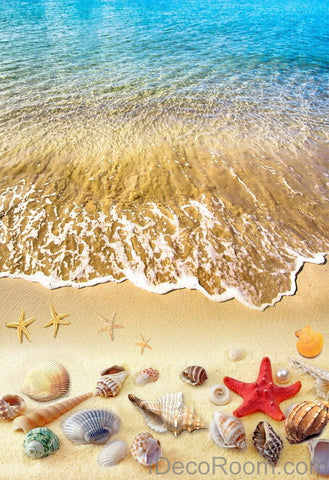 Image of Beach Wave Red Starfish Colerful Shell 00006 Floor Decals 3D Wallpaper Wall Mural Stickers Print Art Bathroom Decor Living Room Kitchen Waterproof Business Home Office Gift