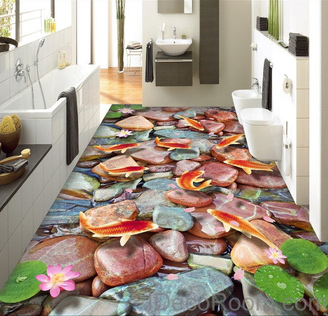 Red carp stone lotus lilypad 00007 floor decals 3d for Kitchen wallpaper 3d