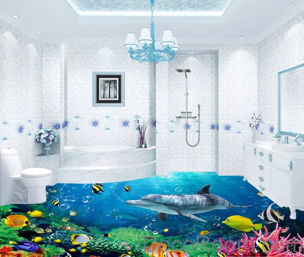 Dophin coral colorful fish under the sea 00008 floor for Bathroom mural wallpaper